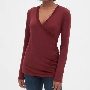 Gap maternity crossover dark red nursing shirt